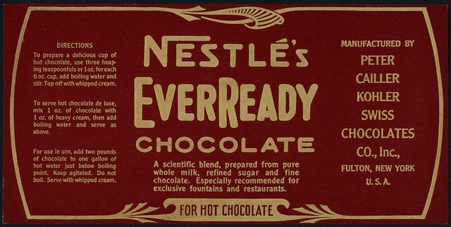 nestle s everready chocolate box package label proof 1930 s