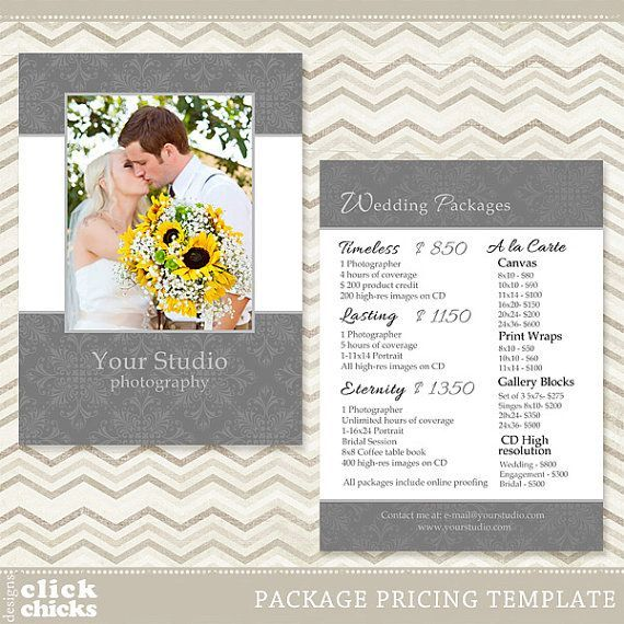 Photography Package Pricing List Template - Wedding Price List - Price Sheet Template