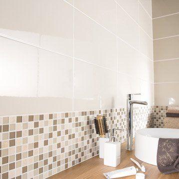 Faïence mur ivoire, Tonic l.25 x L.50 cm | Salle de bain ...