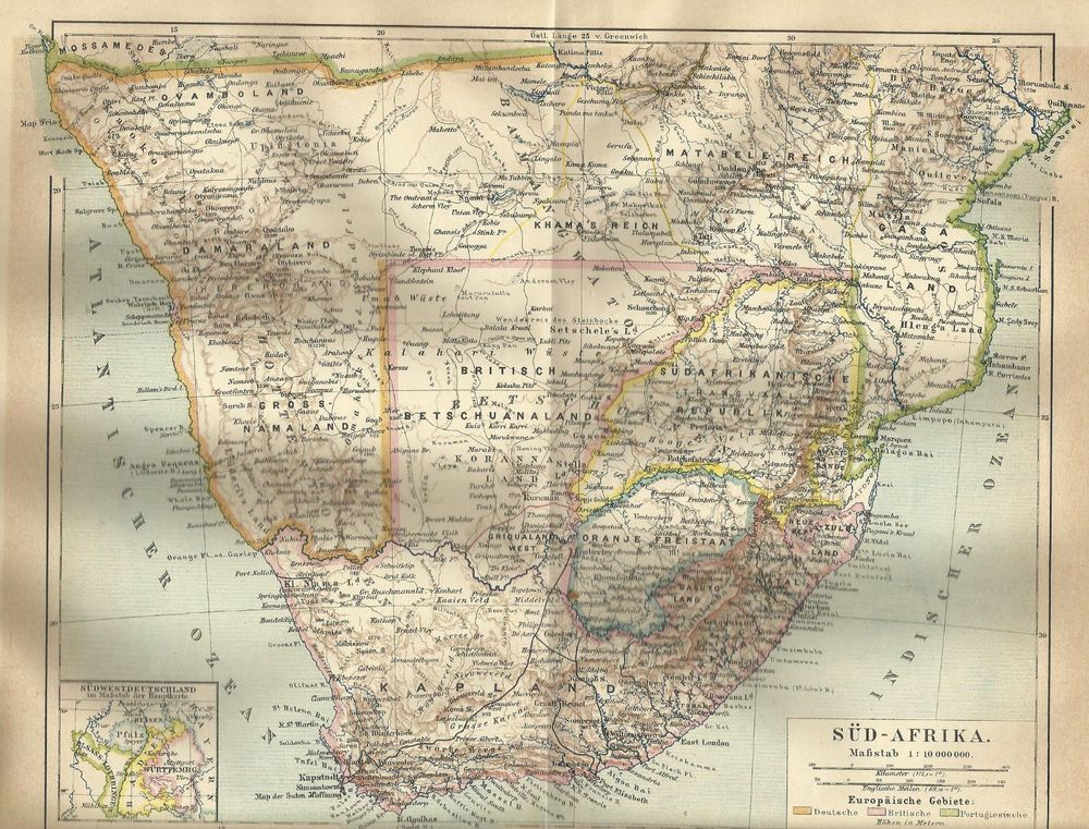 1887 Sudafrika South Africa Alte Landkarte Antique Map Landkarte