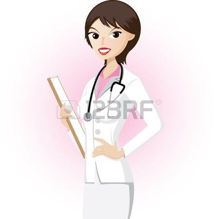 Doctora con sonrisa feliz. Foto de archivo.