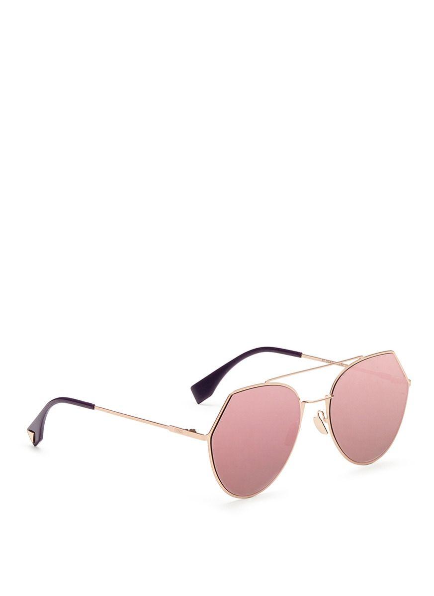 c28b37b130 Fendi -  eyeline  Flat Metal Angular Aviator Mirror Sunglasses