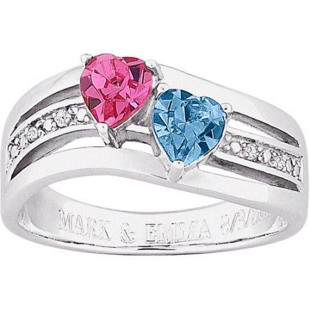 Personalized Birthstone And Diamond Accent Couple S Swirl Ring In