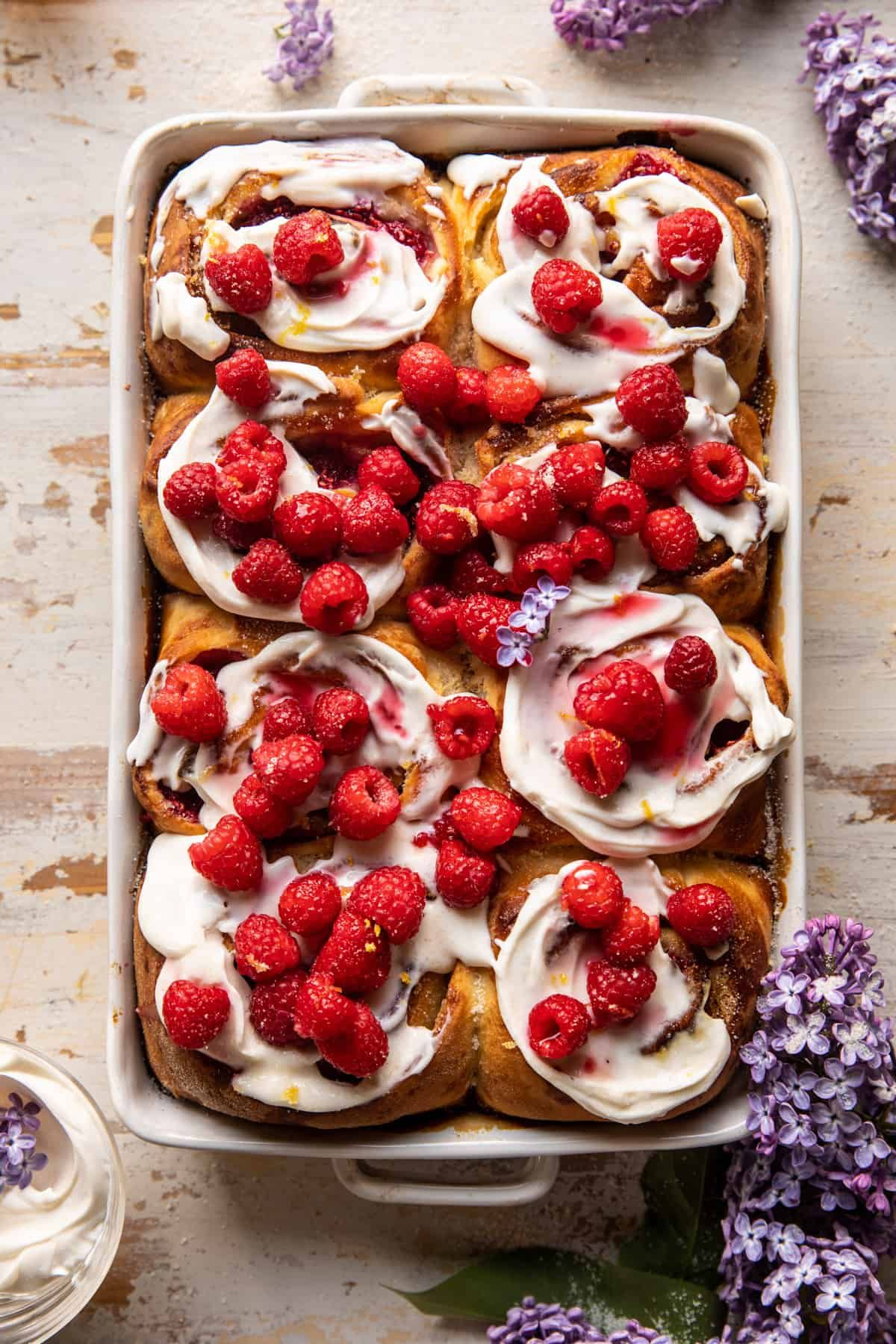 Photo of Raspberry Lemon Brioche Rolls with Whipped Ricotta Cream. – Half Baked Harvest