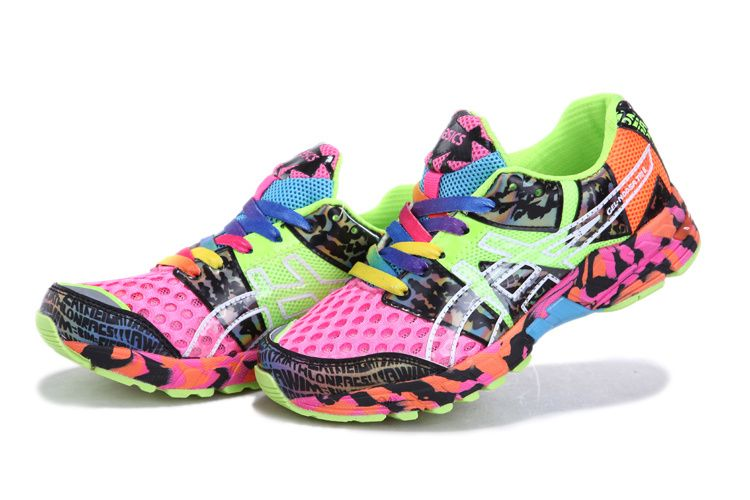 Womens Asics Gel Noosa Tri 8 Running Shoes Pink Lime Confetti