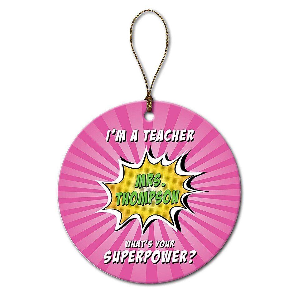 Super Teacher Ornament In Pink