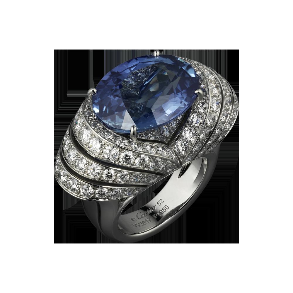 bague haute joaillerie platine saphir diamant bagues de luxe pour femme cartier rings. Black Bedroom Furniture Sets. Home Design Ideas