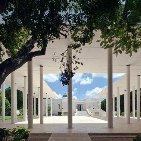 Thirty Six Slender Columns Support The Thin Concrete Canopy Of