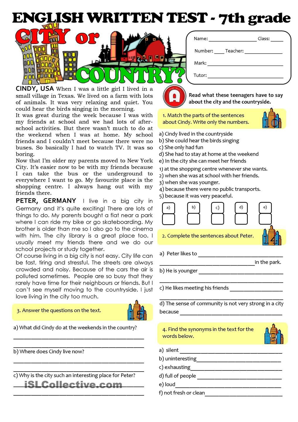 CITY vs COUNTRYLIFE TEST 7th grade Texts – 7th Grade English Worksheets