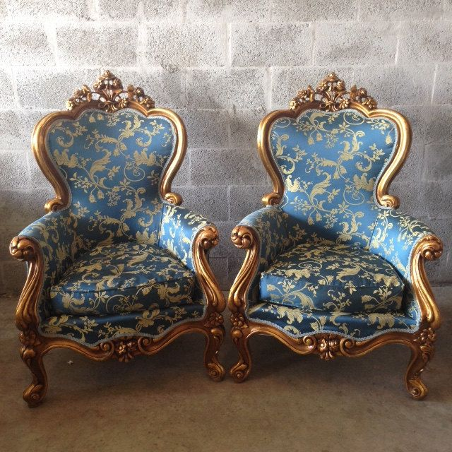 Antique Italian Baroque 2 Chairs Rococo French Louis XVI Chair Fauteuil  Bergere Gold Leaf Gild Refinished - Antique Italian Baroque 2 Chairs Rococo French Louis XVI Chair