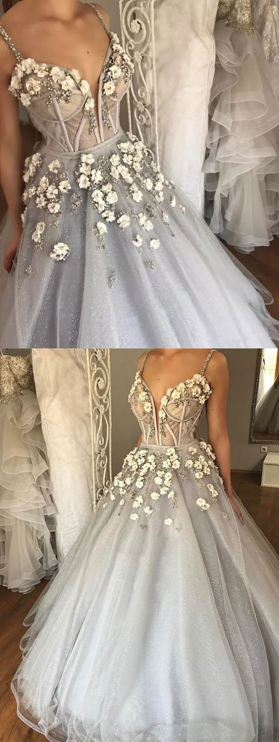 Ball gown spaghetti straps court train grey tulle wedding dress with