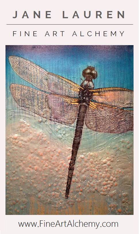 Dragonfly | Original Oil & Mixed Media Painting by Jane Lauren | www.FineArtAlchemy.com