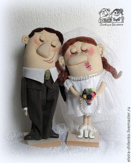 Подарки на свадьбу ручной работы. Ярмарка Мастеров - ручная работа. Купить Жених и Невеста. Handmade. Чёрно-белый, текстильная кукла