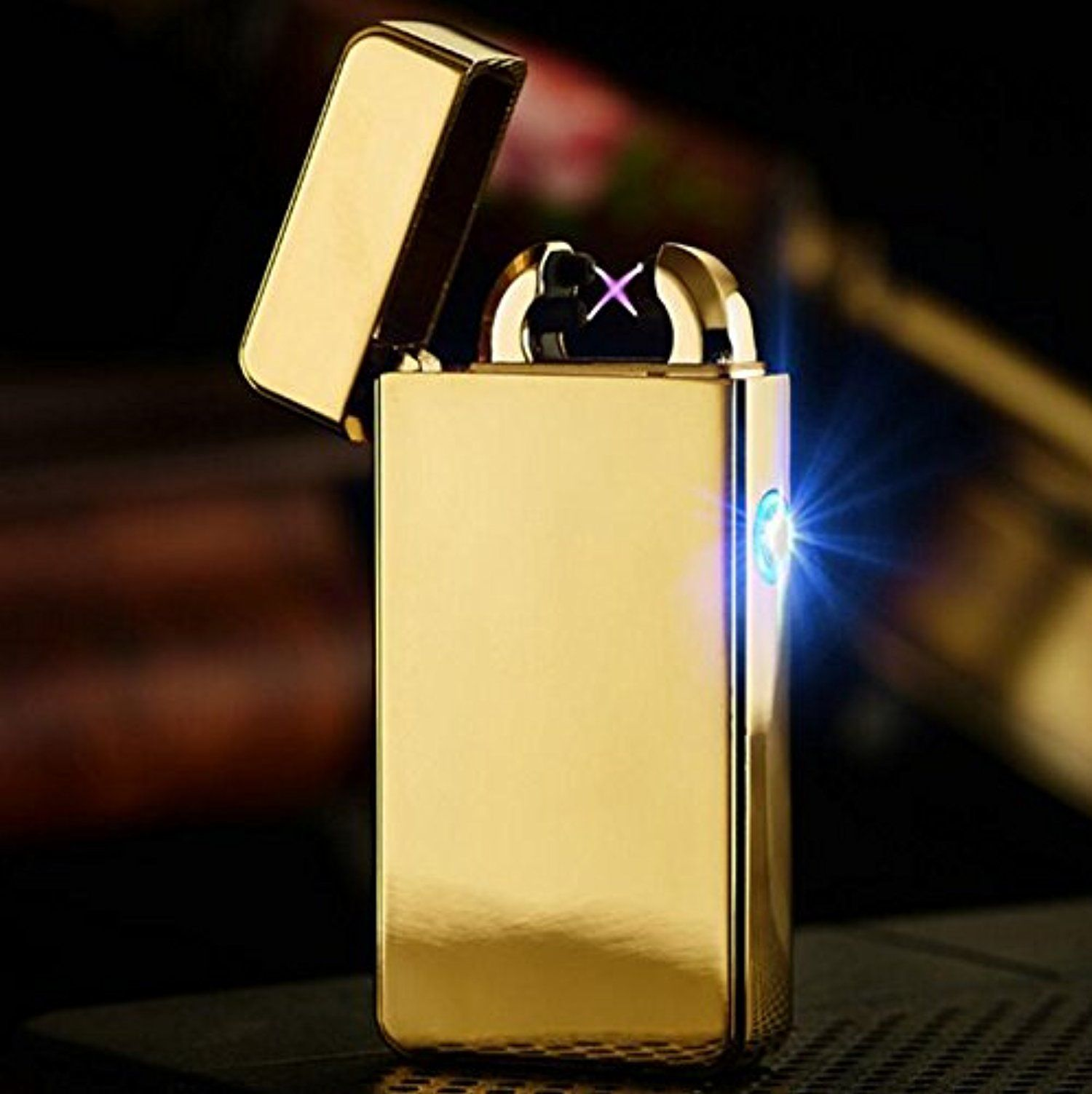Njord Male Gift Arc Lighters Metal Usb Rechargeable Flameless Electric Windproof Cigar Cigarette Lighter Cross Double Pulse Slim Gold