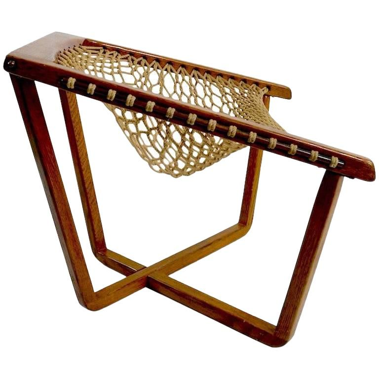 1x6 Rope Accent Chair: Rope Net Sling Chair With Exposed Oak Frame In 2020