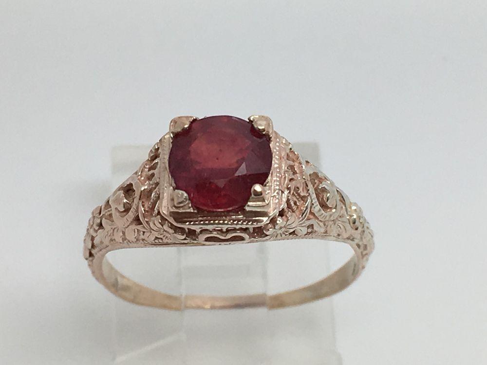 Vintage 10k Rose Gold Filigree Red Stone Ring Size 6 75 Ebay Red Stone Ring Red Stone Stone Rings