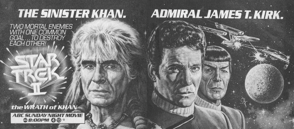 TV Guide ad for an ABC Sunday Night Movie broadcast of 1982's Star Trek II