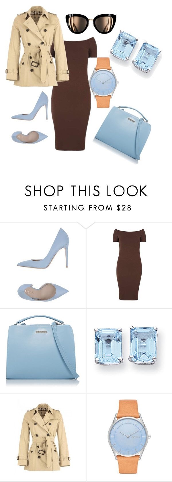 """Blue Chocolate"" by cmoligar on Polyvore featuring Le Silla, Dorothy Perkins, Kevin Jewelers, Burberry and Skagen"