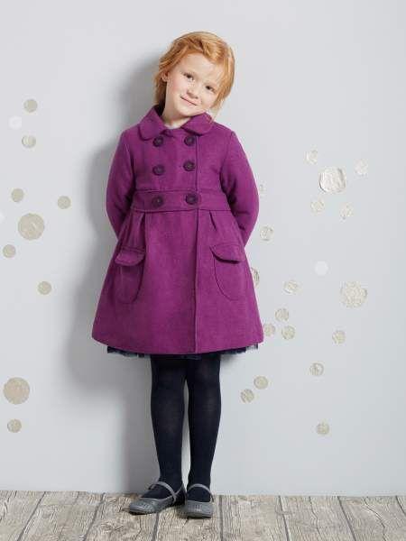 a62b9eabc abrigo de paño de lana morado niña de vertbaudet | tela polar ...