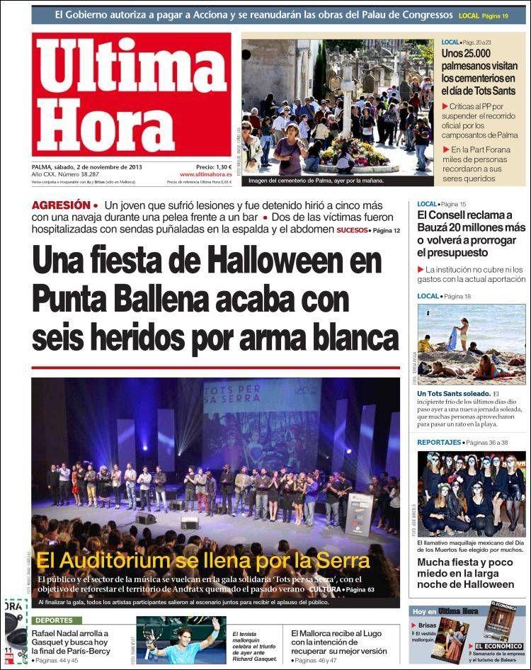 Los Titulares y Portadas de Noticias Destacadas Españolas del 2 de Noviembre de 2013 del Diario Ultima Hora ¿Que le pareció esta Portada de este Diario Español?