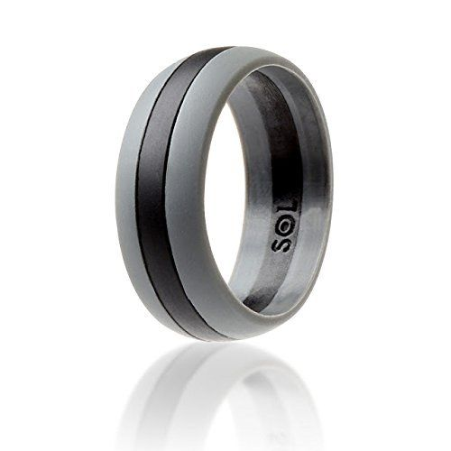 AMAZON Silicone Wedding Ring for Men Black with Grey High Quality