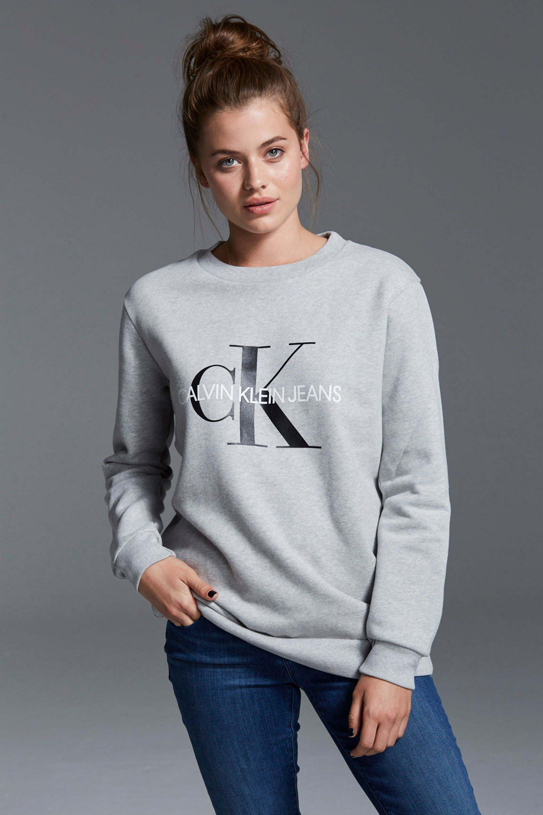 Womens Calvin Klein Jeans Monogram Logo Sweatshirt Grey in