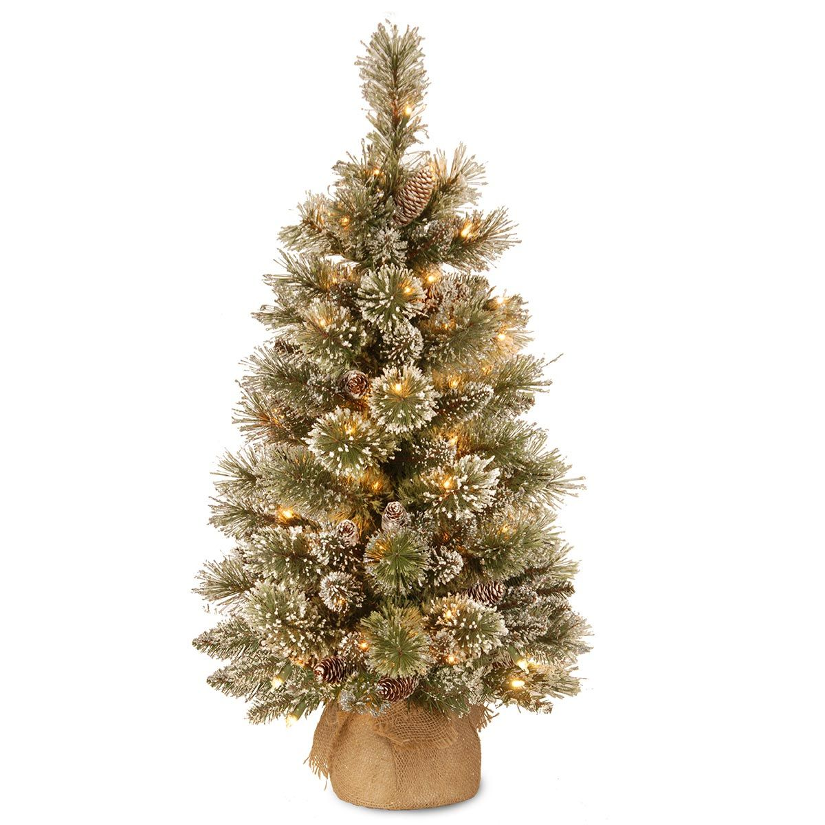 3ft pre lit battery operated glittery bristle pine burlap artificial christmas t - 3 Ft Pre Lit Christmas Tree