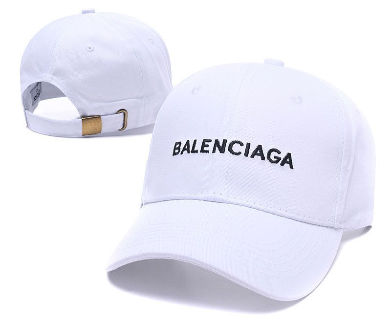 Industrial doble Con  Men's / Women's Balenciaga Basic Logo Embroidery Twill Curved Dad Cap -  White (Copy Ori)