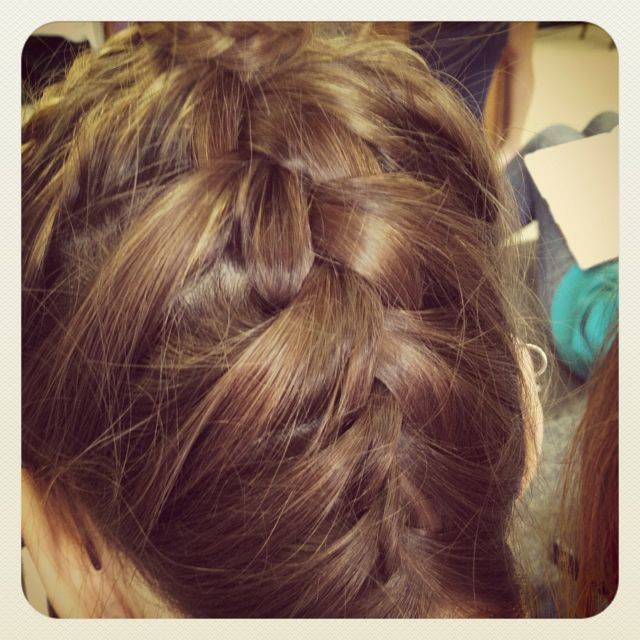 Upside Down French Braid Into Ponytail With Cornrow Wrap