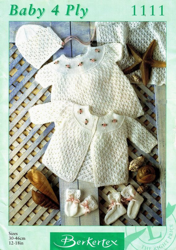 "Berkertex 1111 Vintage Baby Girl Knitting Pattern 12-18/"" dress shawl pram set"