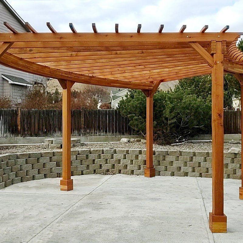 Fan Shaped Pergola Kit Options 22 X 20 California Redwood With Roof Slats No Electrical Wiring Trim Kit 5 Post Anchor In 2020 Pergola Wood Pergola Pergola Kits