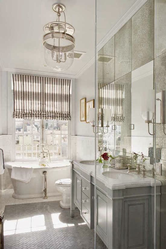 pretty bathroom with antiqued mirror Bathroom ideas Pinterest