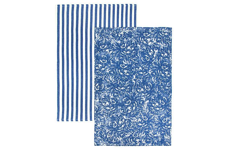 S 2 Peony Stripe Kitchen Towels Blue White Blue Towels Blue
