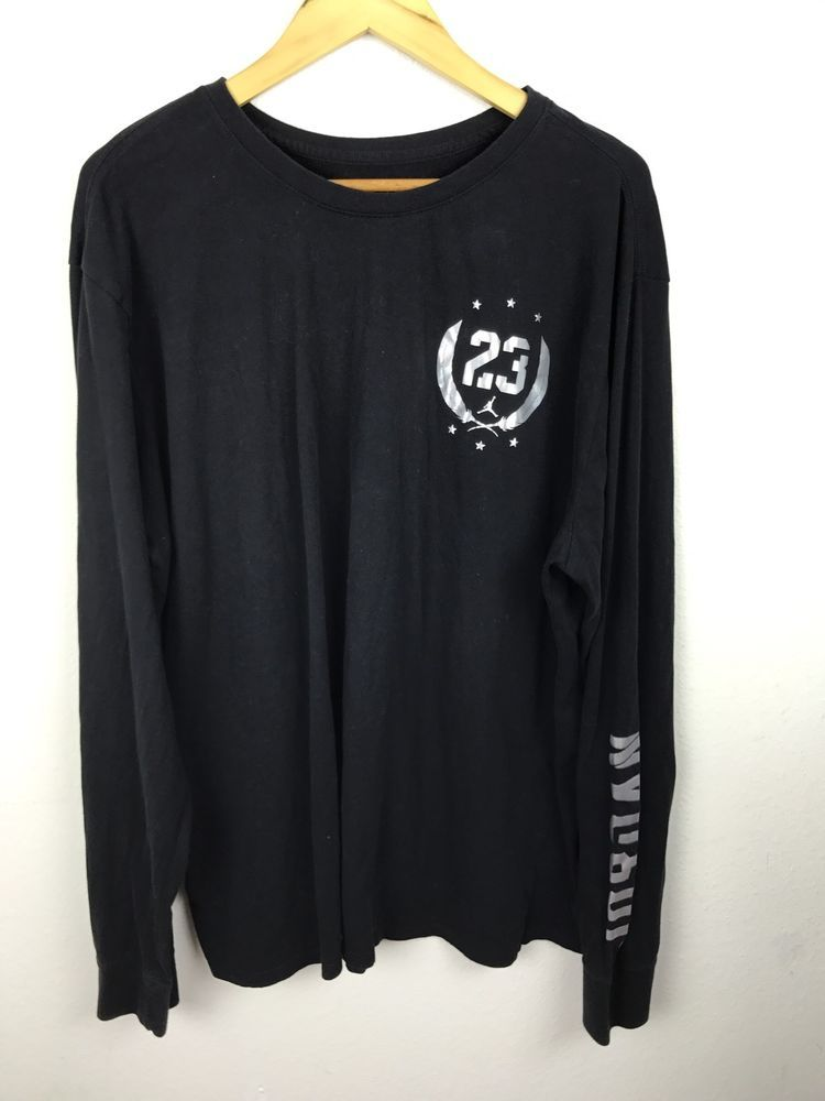 fa1ad3fb0722 Women s Size XXL  23 Air Jordan Michael Jumpman Long Sleeve Shirt Black  Silver  Jordan