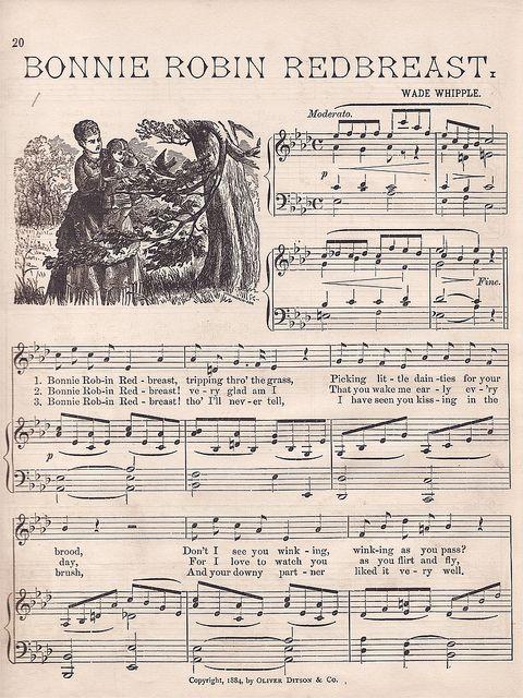 """""""Bonnie Robin Redbreast"""" Vintage Music"""