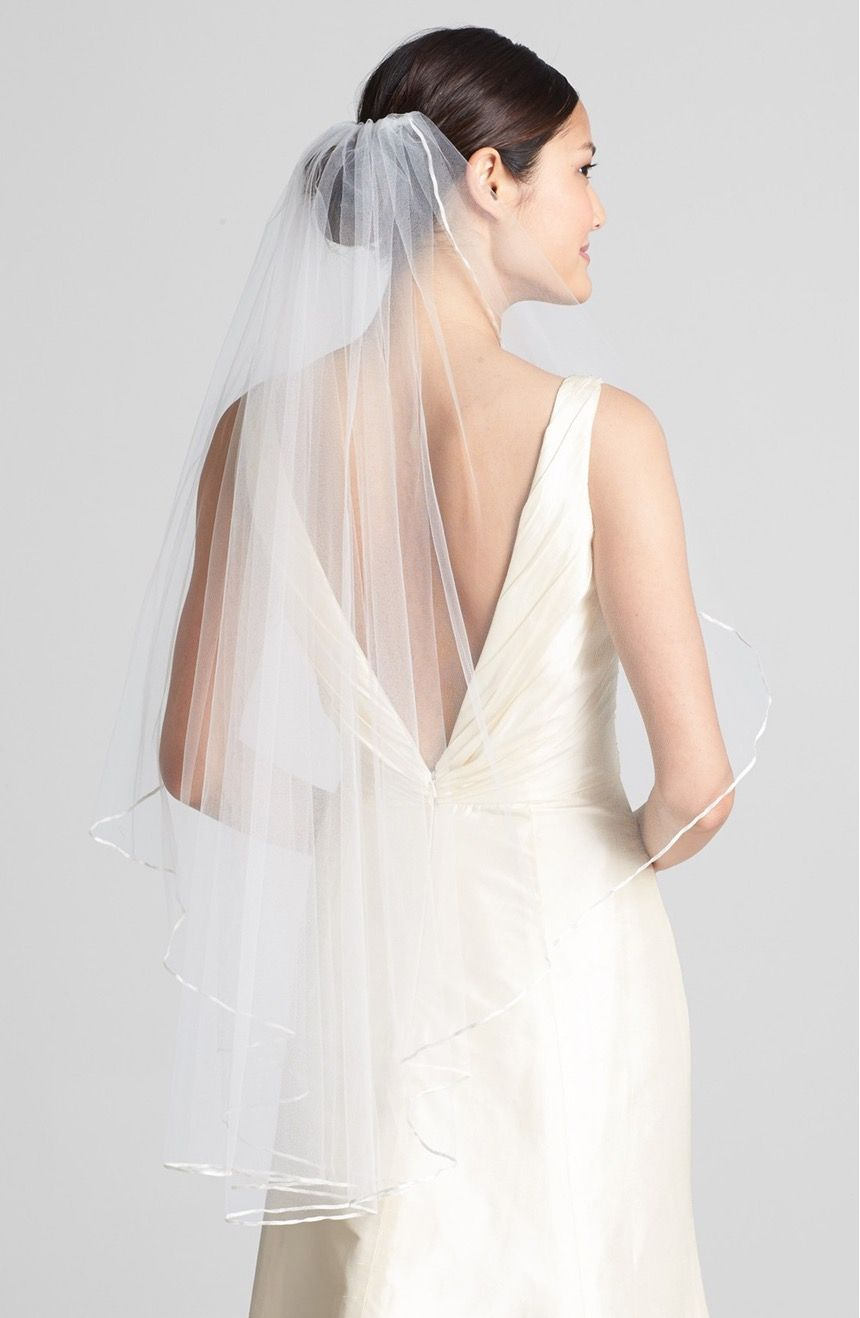 A subtle satin lining brings out the beauty in this stunning veil. | Wedding Belles New York 'Mable' Veil | Nordstrom | Wedding Fashion | Bridal Style | Wedding Accessories