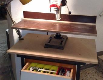 bohrwagen und anschlag f r st nderbohrmaschine bohren holz bohrmaschine pinterest. Black Bedroom Furniture Sets. Home Design Ideas
