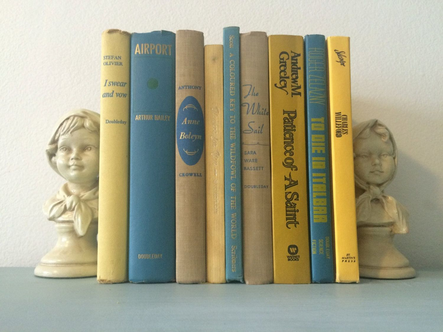 Vintage Yellow/Tan/Blue Decorative book lot by HellwarthVintageCo on Etsy