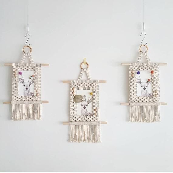 Handmade Macrame Photo Frame, Picture Wall Hanging