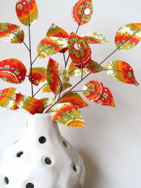 Fabric Leaves Tangerine Tango Spring Branches set of 3 von janejoss, $21,00