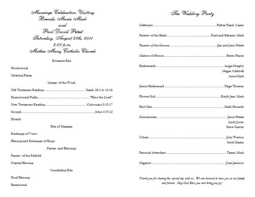 program for wedding template