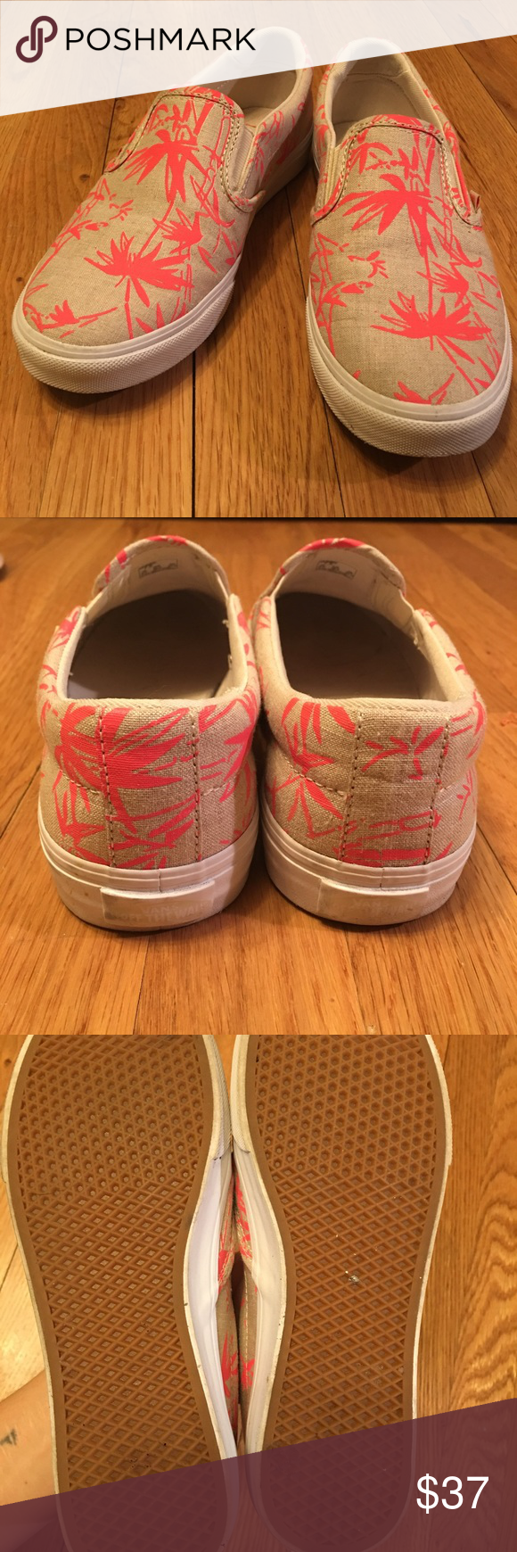 1645fa2d894cc1 VANS slip on shoes Super cute Vans sneakers! Only worn twice. I love them a  bunch but unfortunately they re too big on me  ( They have a cream base  with ...
