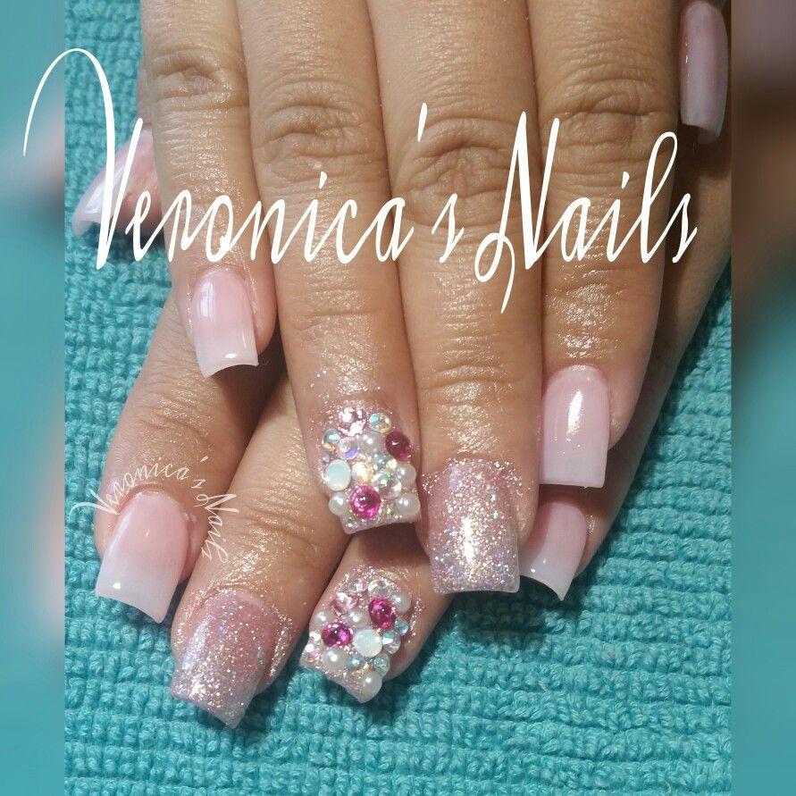 nailedbyvee pink nails glitter bling super cute short classy elegant ...