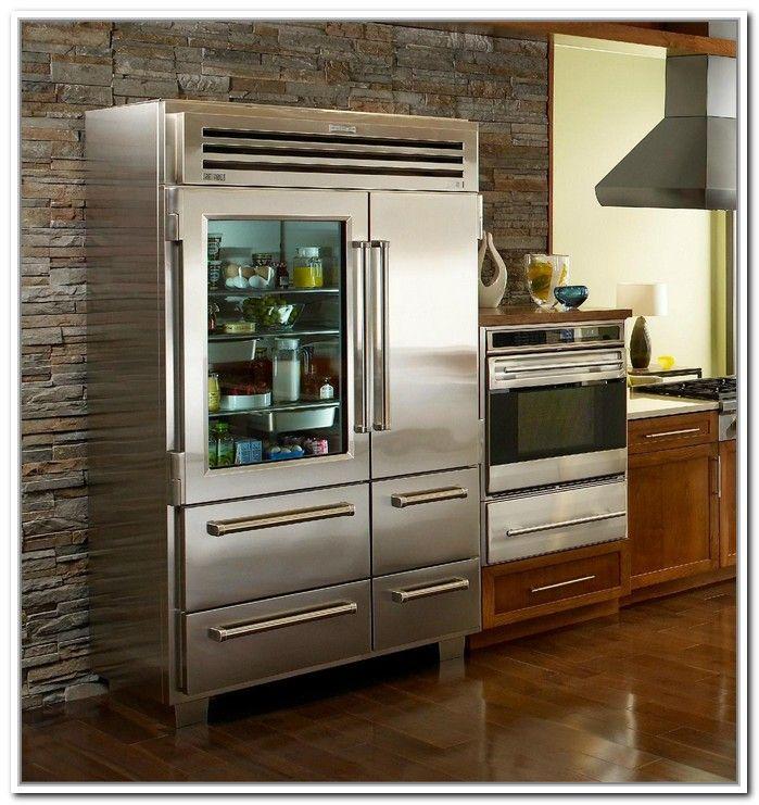 Sub Zero Glass Door Refrigerator Freezer Remodeling Kitchen