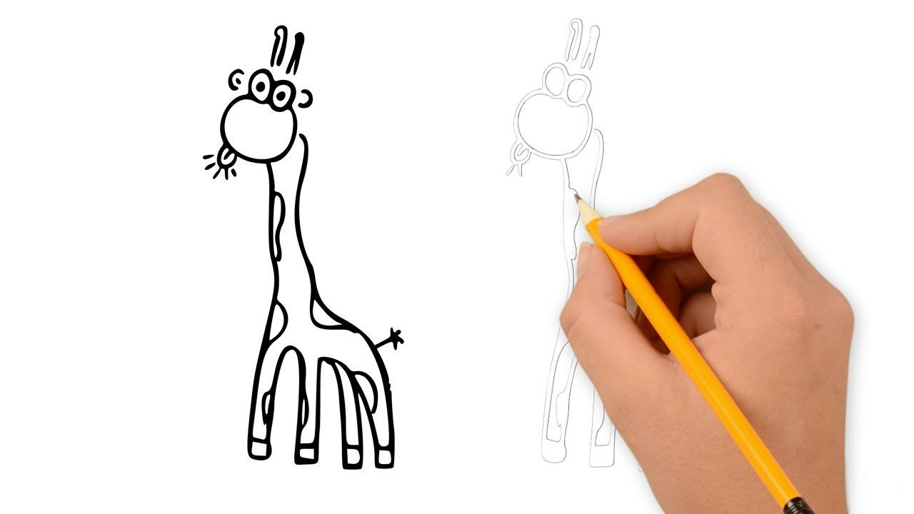 How To Draw A Funny Giraffe Easy Cartoon Pencil Drawing For Kids