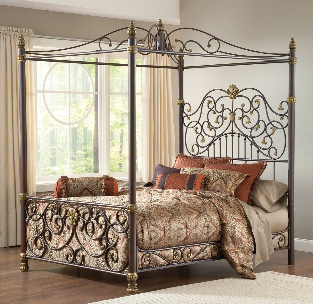 d450e75b2308 Amazon.com: Hillsdale Furniture 1751BKPR Stanton Bed Set with Canopy and  Matching Side Rails, King, Old Brown Highlight: Home & Kitchen