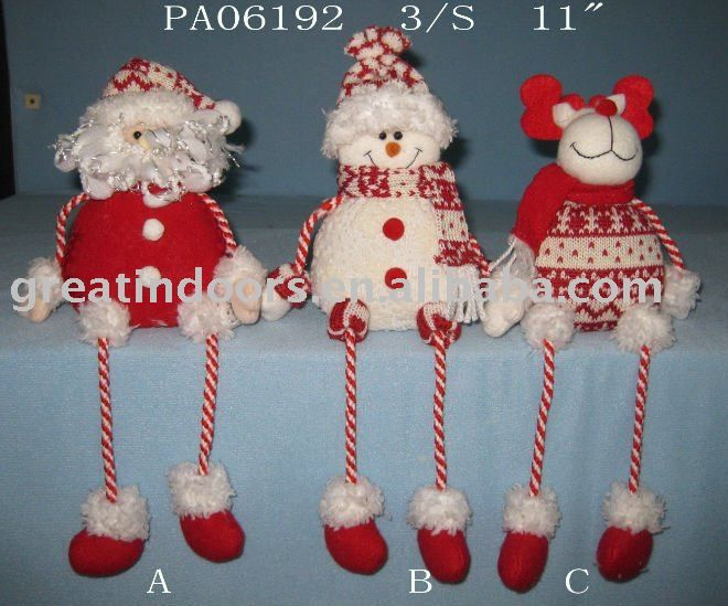 Tela de santa claus sentado muñeco de nieve reno-Adornos navideños