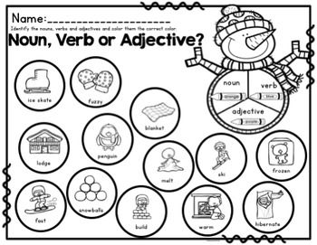 Winter Vocabulary And Grammar Activities (Nouns, Verbs and