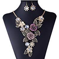 DDLBiz Women's Vintage Flower Rose Gold Necklace Statement Earrings Jewelry Set          #ad #affiliate #womenjewelrysets #fashion #jewelry #women #wedding #jewelrysets #jewelrysetsforsale