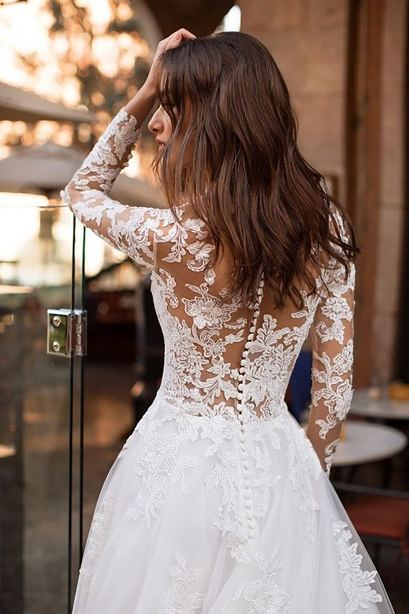 Wedding Dress Long Sleeves Vestidos de novia Illusion Lace Appliqued A Line Bridal Gown Buttons Back Wedding Gowns